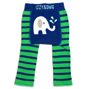 Blue & Green Elephant by Izzy & Owie - 6-12 Months Baby Leggings