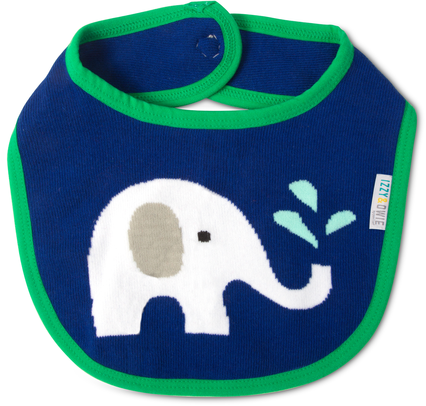 Blue & Green Elephant by Izzy & Owie - Blue & Green Elephant - Baby Bib