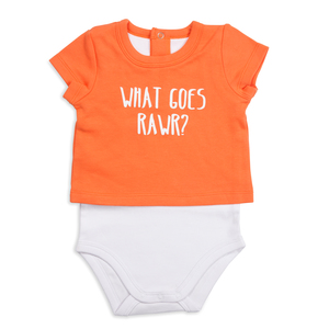 Orange Dino by Izzy & Owie - 12-24 Months Shw-onesie
