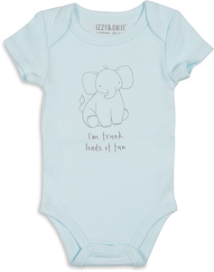 Soft Blue Elephant by Izzy & Owie - 0-6 Months Onesie