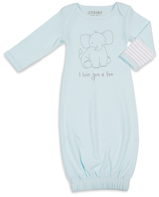 Soft Blue Elephant by Izzy & Owie - 0-3 Months Gown with Mitten Cuffs