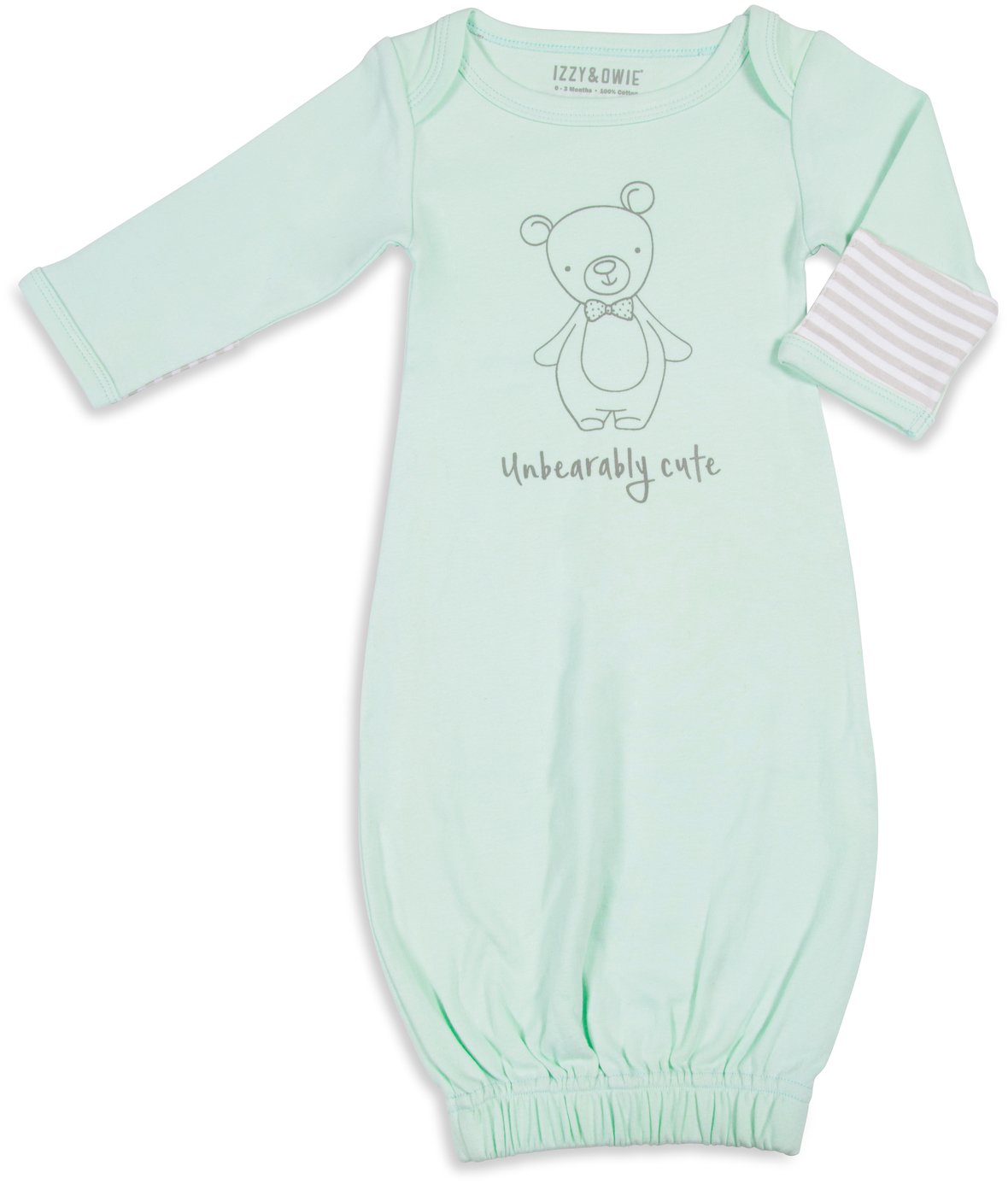 Soft Green Bear by Izzy & Owie - Soft Green Bear - 0-3 Months Gown with Mitten Cuffs