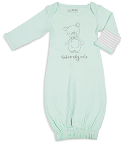 Soft Green Bear by Izzy & Owie - 0-3 Months Gown with Mitten Cuffs