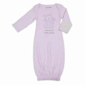 Soft Lavender Kitty by Izzy & Owie - 0-3 Months Gown with Mitten Cuffs
