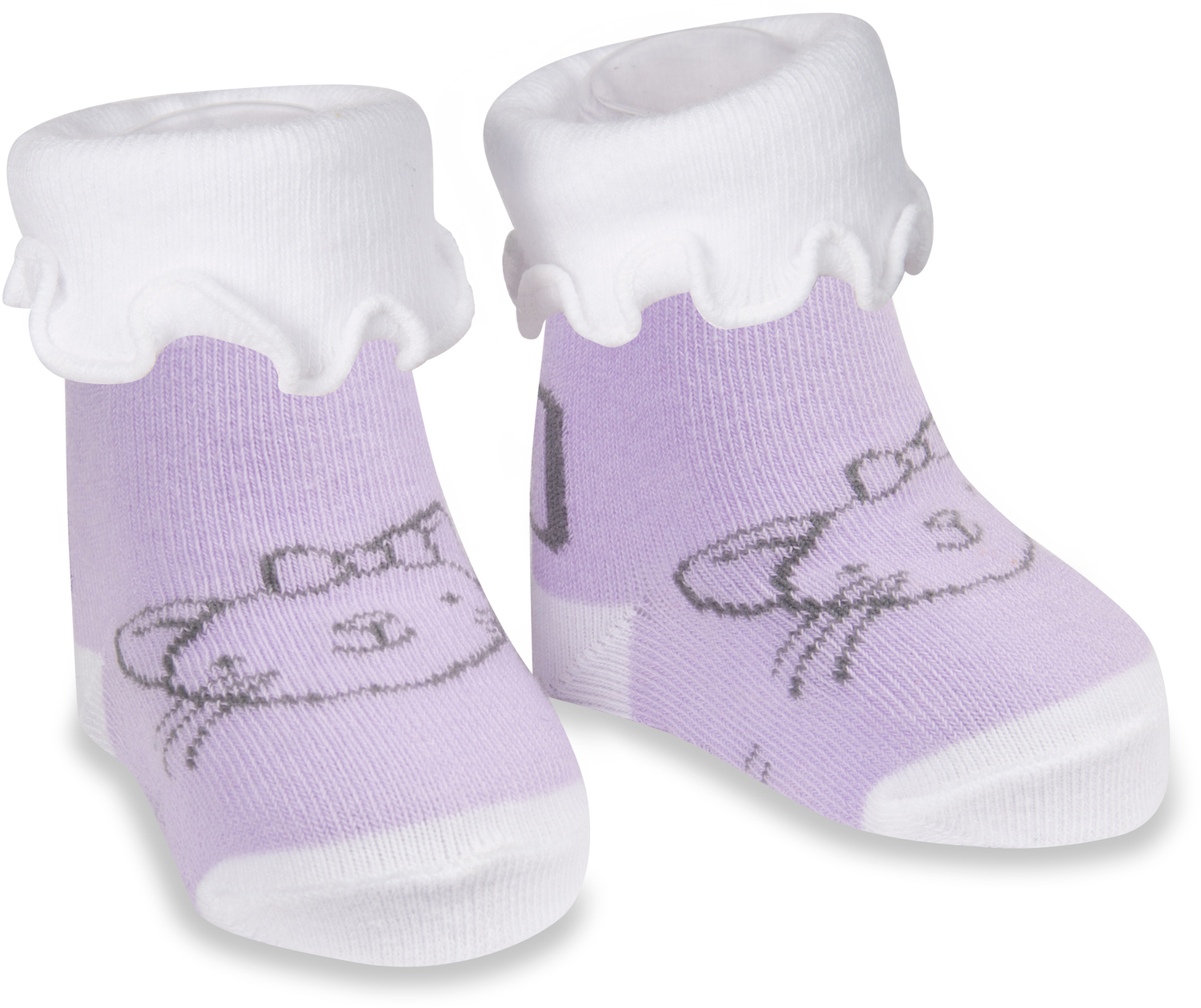 Soft Lavender Kitty by Izzy & Owie - Soft Lavender Kitty - 0-3 Months Socks