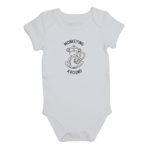 Monkey by Izzy & Owie - 6-12 Months Gray Onesie