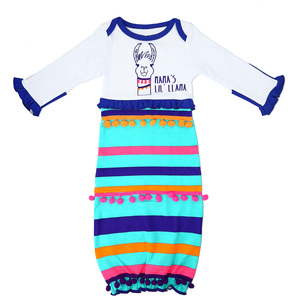 Party Llama by Izzy & Owie - 0-3 Months Gown with Mitten Cuffs
