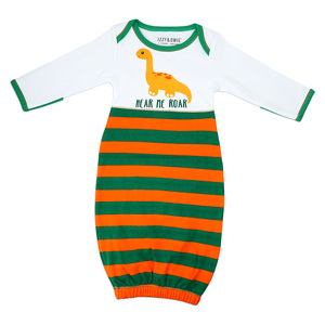 Striped Dino by Izzy & Owie - 0-3 Months Gown with Mitten Cuffs