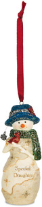 "Daughter by The Birchhearts - 4"" Snowwoman Holding a Bird Ornament"