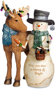 "Merry & Bright by The Birchhearts - 7.5"" Snowman and Moose"