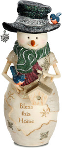 "Bless this Home by The Birchhearts - 7.5"" Snowman with Bird and Birdhouse"