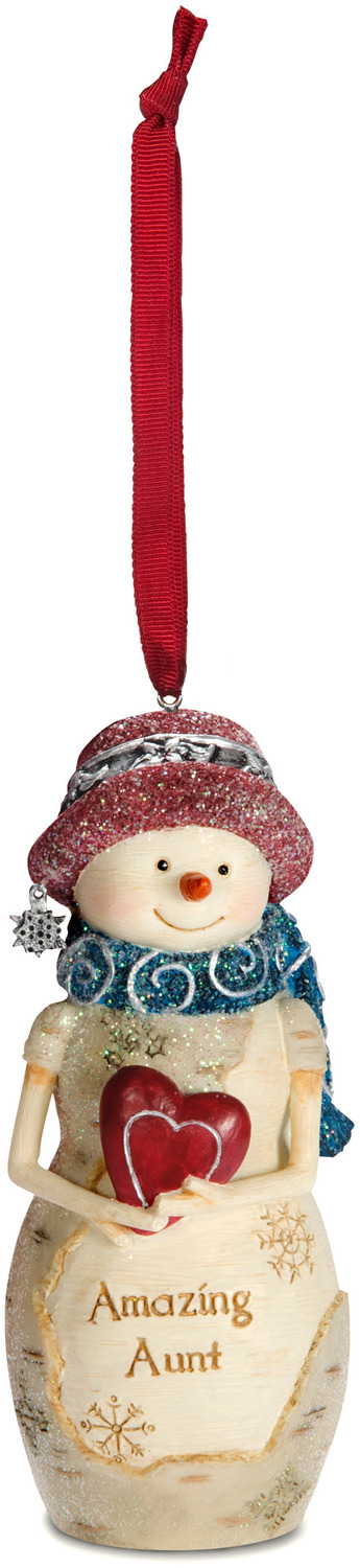 "Aunt  by The Birchhearts - Aunt  - 4"" Snowwoman Ornament"