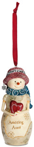 "Aunt  by The Birchhearts - 4"" Snowwoman Ornament"