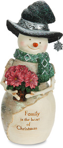 "Family by The Birchhearts - 7"" Snowman Holding Poinsettia"