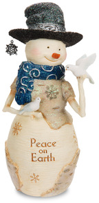 "Peace on Earth by The Birchhearts - 7"" Snowman with Doves"