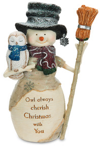 "Owl Always Cherish Christmas by The Birchhearts - 6.5"" Snowman Holding Owl"