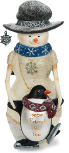"Snow Friend like You by The Birchhearts - 6"" Snowman Holding Penguin"
