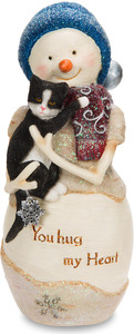 "You Hug my Heart by The Birchhearts - 5"" Snowman Holding Cat"