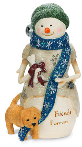 "Friends Forever by The Birchhearts - 4.5"" Snowman with Puppy"