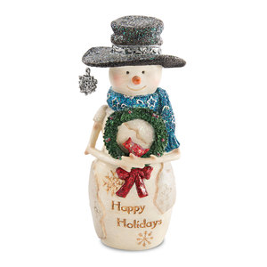 "Happy Holidays by The Birchhearts - 5"" Snowman holding wreath"