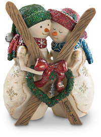 "Love by The Birchhearts - 4.5"" Snowcouple with Skis"