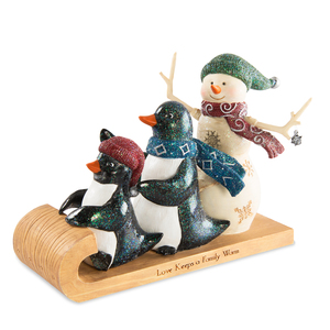 "Family by The Birchhearts - 4.5"" Snowman with Two Penguins"
