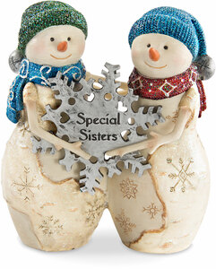 "Sisters by The Birchhearts - 4.5"" Snowmen holding snowflake"