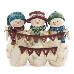 "Cheer by The Birchhearts - 4"" Snowmen holding banner"