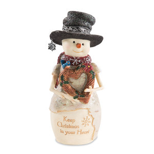 "Christmas Heart by The Birchhearts - 7"" Snowman Holding Heart"
