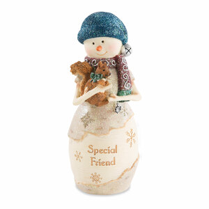 "Friend by The Birchhearts - 6"" Snowman Holding Squirrel"