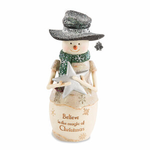 "Believe by The Birchhearts - 6"" Snowman Holding Star"