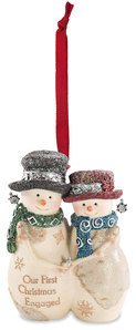 "Engaged by The Birchhearts - 4"" Snowcouple Ornament"
