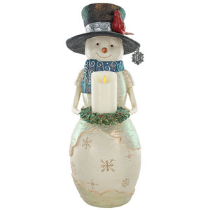 "Warm Greetings by The Birchhearts - 24"" Snowman Holding Candle Ring"