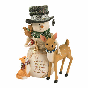 "Home by The Birchhearts - 6.5"" Snowman with a Deer & Fox"