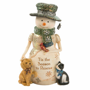 "Rescue by The Birchhearts - 5"" Snowman with Puppy & Kitty"