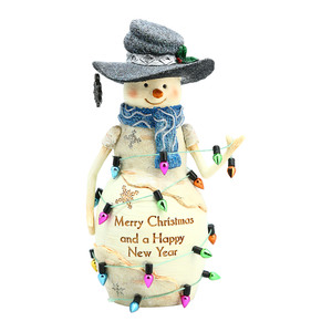 "New Year by The Birchhearts - 6"" Snowman with String Lights"