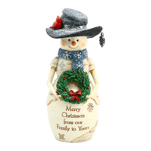 "Christmas Family by The Birchhearts - 6"" Snowman with Wreath"
