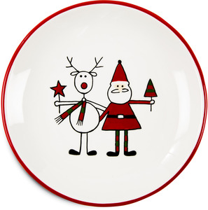 "Reindeer with Santa by Holiday Hoopla - 6.75"" Plate"