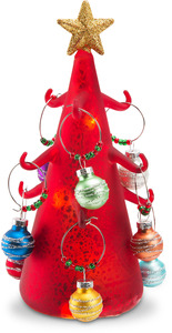 Red Glow by Holiday Hoopla - LED Lit Art Glass Tree Wine Charm Holder with 9 Wine Glass Charms