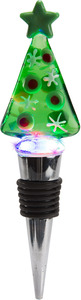 Green Tree by Holiday Hoopla - LED Lit Art Glass Wine Bottle Stopper