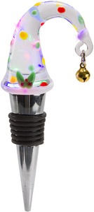 Elf Hat by Holiday Hoopla - LED Lit Art Glass Wine Bottle Stopper