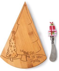 The Best Gift by Holiday Hoopla - Bamboo Cheese Board with LED Spreader