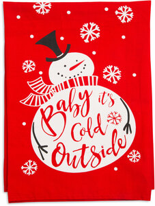 "Cold Outside by Holiday Hoopla - 26.5""x27.25"" Tea Towel"