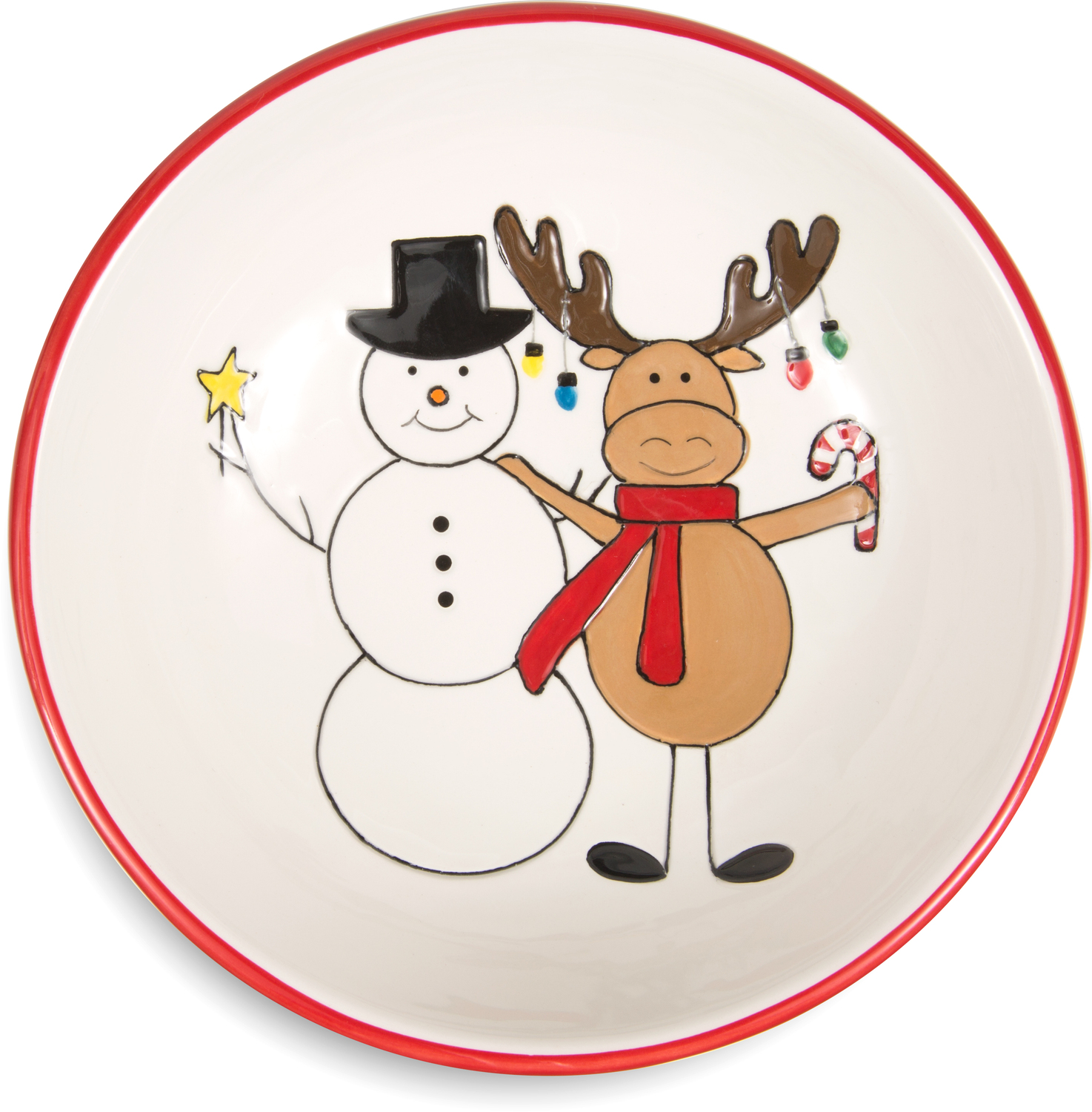 "Snowman with Moose by Holiday Hoopla - Snowman with Moose - 6.5"" Bowl"