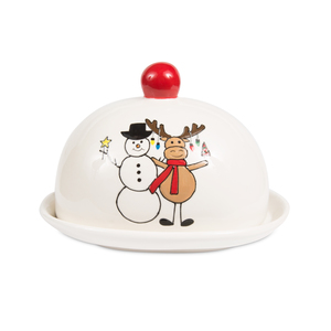 "Snowman with Moose by Holiday Hoopla - 4"" Butter Dish"