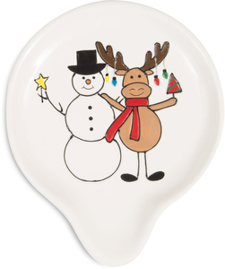 "Snowman with Moose by Holiday Hoopla - 5.75"" Spoon Rest"