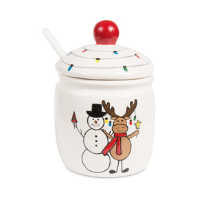 "Snowman with Moose by Holiday Hoopla - 4.5"" Sugar Bowl & Spoon"