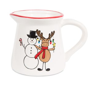 "Moose with Snowman by Holiday Hoopla - 3.5"" Creamer"