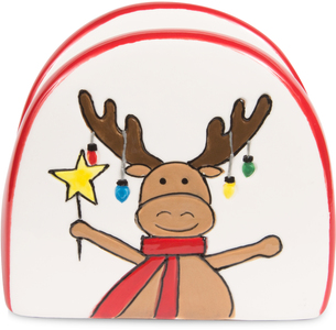 "Snowman with Moose by Holiday Hoopla - 2.75"" Napkin Holder"