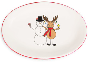 "Snowman with Moose by Holiday Hoopla - 12"" Oval Platter"